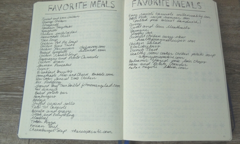 Favorite Meals Bullet Journal Page