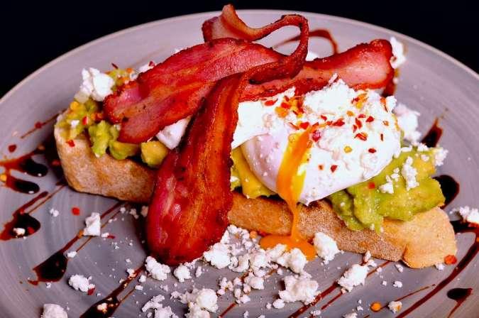 Smashed Avocado and Poached Eggs & Bacon