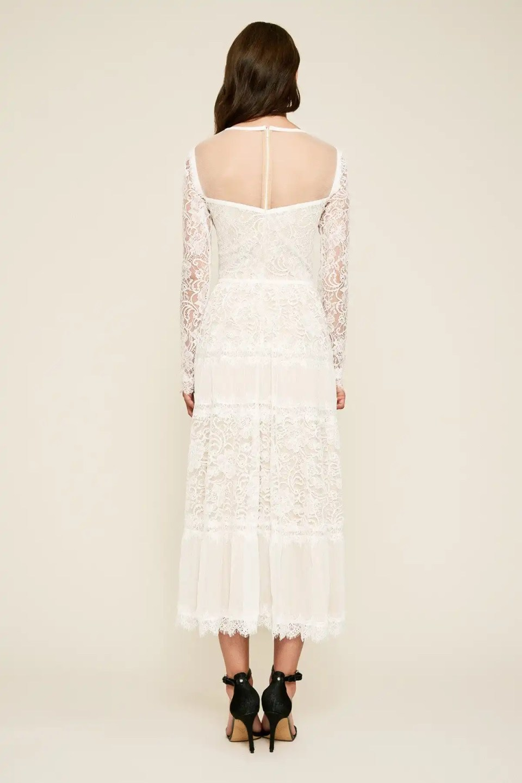 TATIANA LONG-SLEEVE TEA-LENGTH LACE DRESS