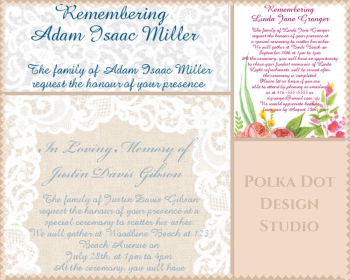 Polka Dot Design Funeral Reception Invitation