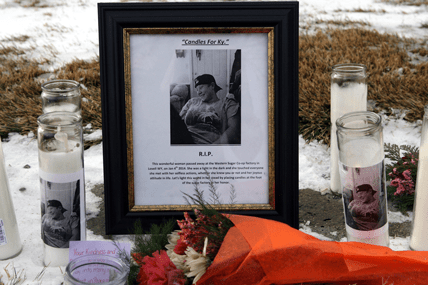 """This informal, heartfelt memorial dedicated to Anfesa """"Ky"""" Galaktionoff appeared in front of the Western Sugar administrative offices this week following her death on Saturday. Patti Carpenter photo"""