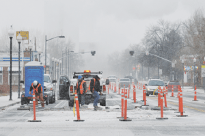 curing during the snowstorm Friday morning. The Main Street Project has been shut down for the winter except for some minor joint winterization if the street clears with warmer weather. David Peck photo