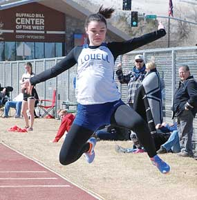 Lovell High School sophomore Madison Bryson propels herself toward the pit during the long jump competition at the Yellowstone Sports Medicine Invitational March 19 in Cody. The Bulldogs will compete in Burlington Friday and Powell on Saturday. Sam Smith photo