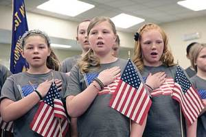 Lovell Elementary School students from Chauna Bischoff's music class perform a patriotic song for veterans at a special event held on Friday, May 6 (front row, l-r)  Maddie Felkins, Maycee Jones, Kallie Owens and (back) Alex Walker. Patti Carpenter photo