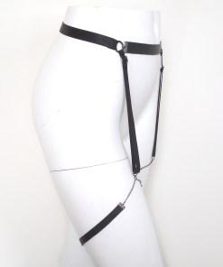 leather chain garter belt, sexy gothic lingerie, fetish bdsm gear, burning man, burlesque costume accessory, love lorn lingerie