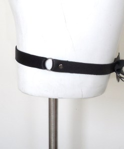 bow leather garter band, gothic lolita stocking suspender, love lorn lingerie