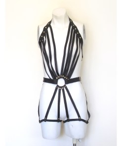 strappy leather bodysuit, burlesque performance costume, dominatrix fashion, fetish gear, love lorn lingerie, sexy bondage lingerie
