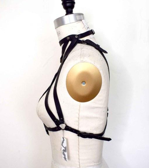 high neck leather harness bralette, love lorn lingerie