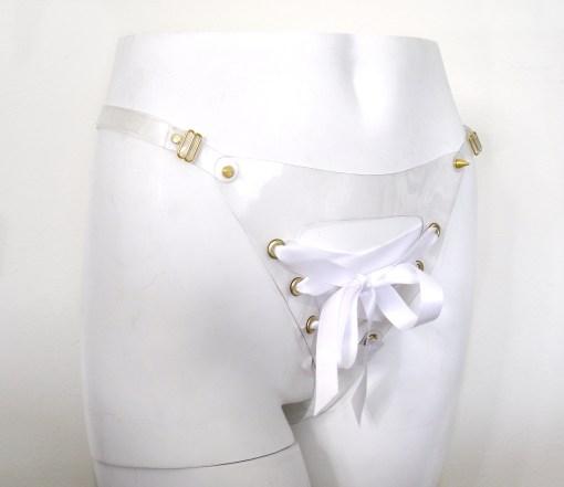 pvc laced open crotch bikini, love lorn lingerie
