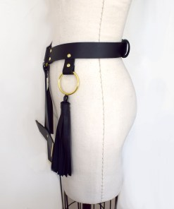 cross leather harness belt, lovelornlingerie