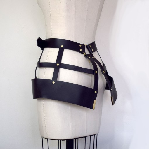 leather harness cage skirt, love lorn lingerie