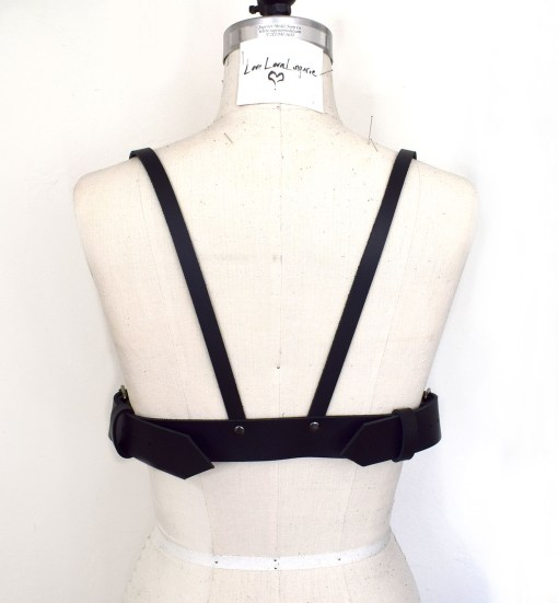 long line leather harness bra, love lorn lingerie