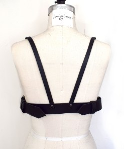long line leather harness bra, love lorn lingerie