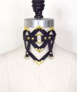 art deco leather collar, love lorn lingerie
