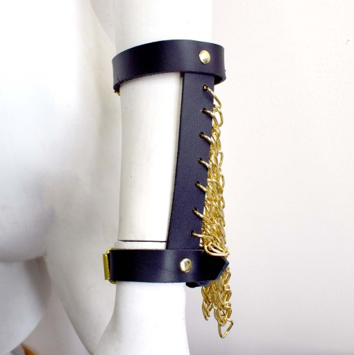 chain fringe harness braces, leather cuffs, love lorn lingerie