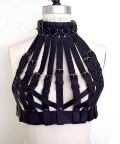 high neck buckled leather bra, love lorn lingerie