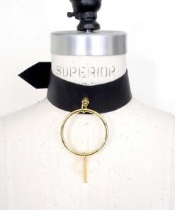 O-Ring wide leather collar, lovelornlingerie