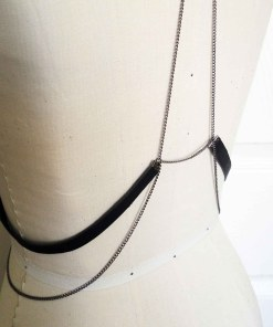 love-lorn-lingerie, chain harness, leather harness, body jewelry, dark fashion, gothic jewelry, belly dance costume, burlesque accessory, burning man, rave