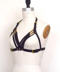 black strappy leather harness bra
