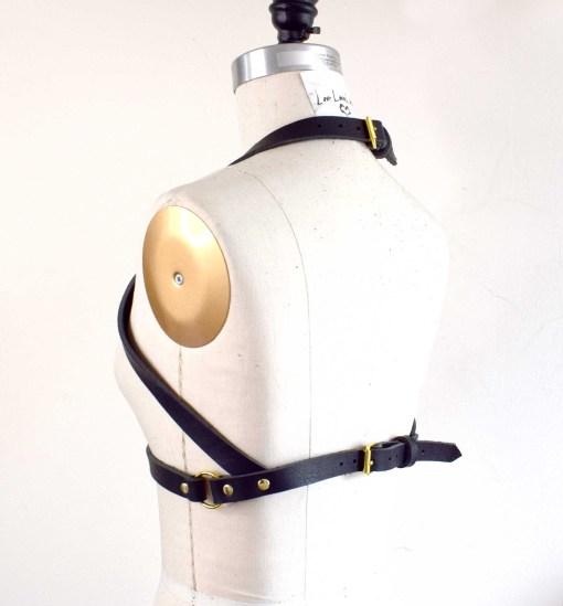 black leather harness bralette
