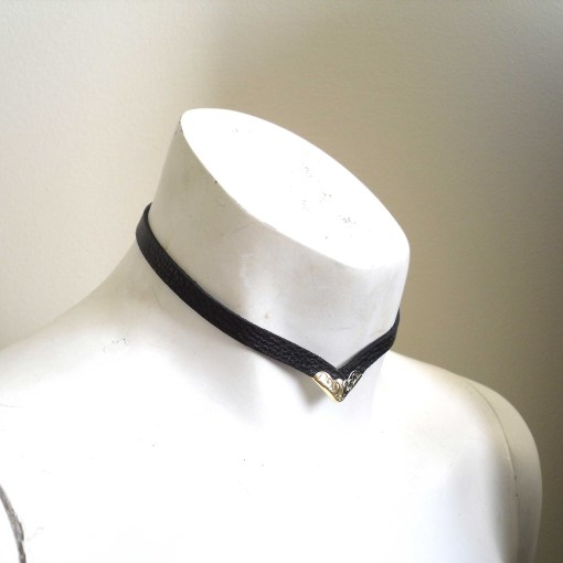 thin leather choker, black collar, love lorn lingerie