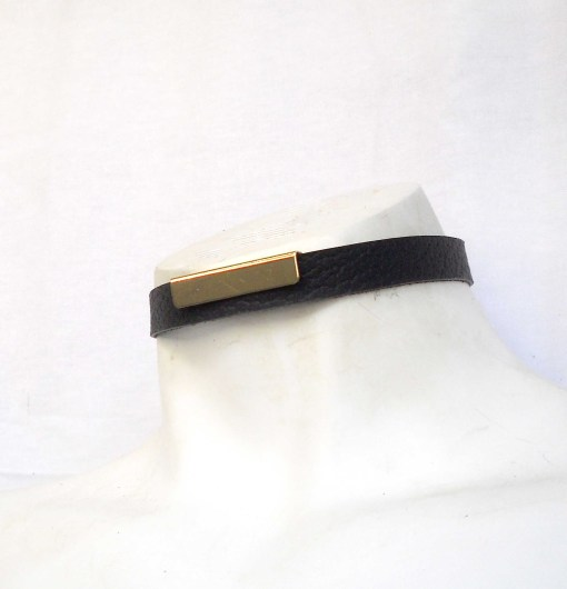 gold bar leather choker, lovelornlingerie, gothic jewelry
