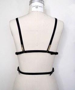 Black Leather Chest Harness, lovelornlingerie