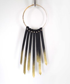 gold leather fringe collar