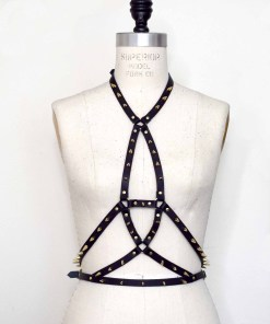 Spiked leather body harness