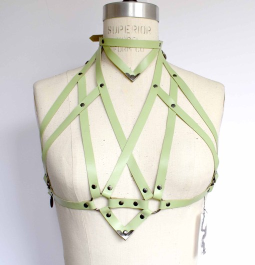 green leather high neck harness bralette