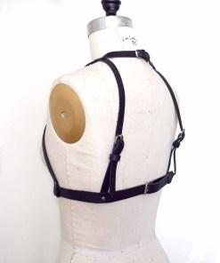 high neck black leather harness bra, love lorn lingerie