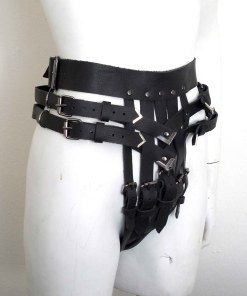 high cut buckled leather thong, bdsm fetish lingerie, love lorn lingerie