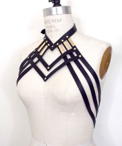 Draped Strappy Leather Body Harness