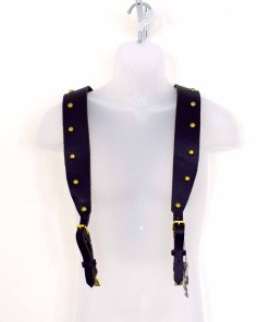 Black leather wide suspenders