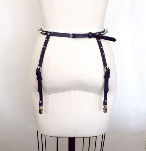Vex Spiked Strappy Leather Bralette