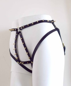 Spiked Leather Harness Panty