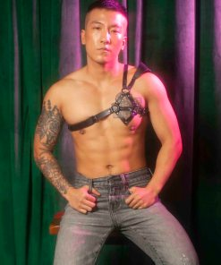 asymmetrical mens leather harness