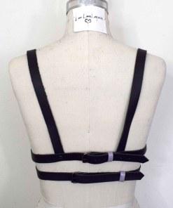 Lavender Colorblocked longline leather bra