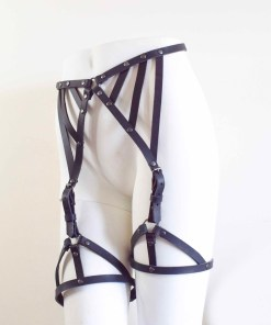 strappy black leather leg harness