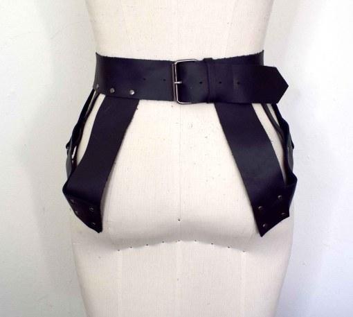 black leather harness peplum belt