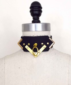 art deco leather collar