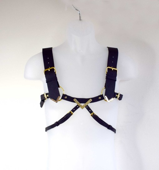 mens art deco leather harness