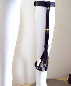 black leather leg cuff