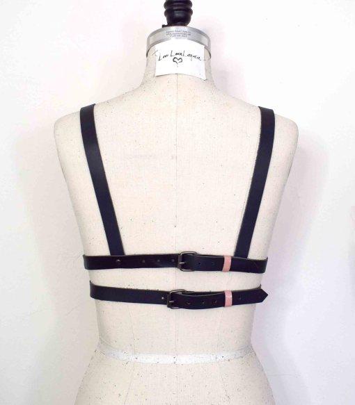 pink leather longline bra
