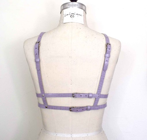 purple leather harness bra
