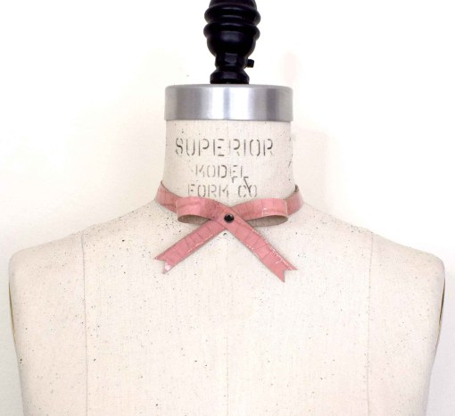 Pink Leather Bow Collar