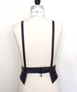 Black Leather Waist Cincher Harness