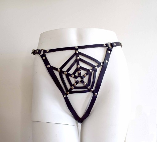 Spider Web Leather Thong