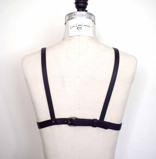 Black strappy leather bralette