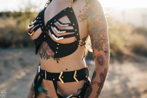 open leather bra